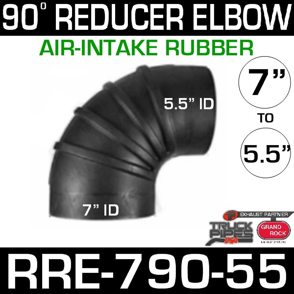 7 inch x 5.5 inch 90 Degree Reducer Air Intake Rubber Elbow