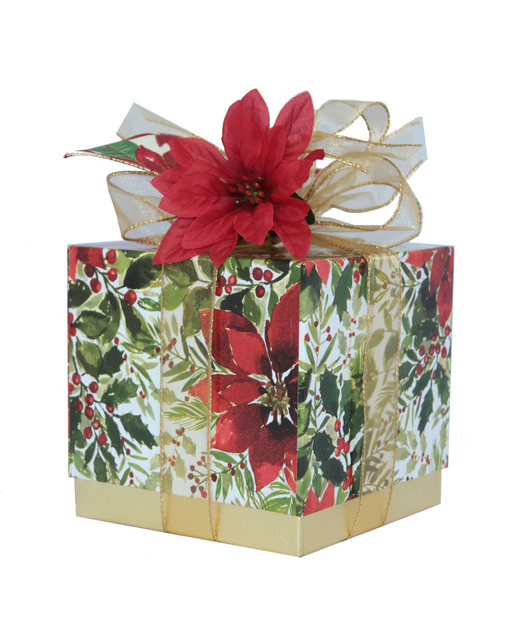 "Pointsettia Gift Box - Empty Single 6"" Cube - Case Pk. 4 - All Wrapped Up"