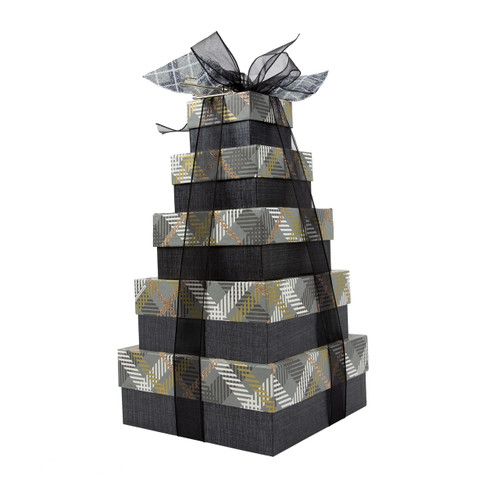 Winter Plaid 5 Tier Tower