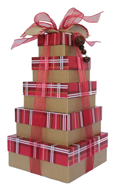 Classic Red Plaid 5 Tier Tower - Set of 5 boxes - Case Pk. 8