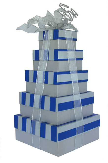 Corporate Blue & Silver Stripe  5 Tier Tower – Set of 5 Boxes - Case Pk. 8