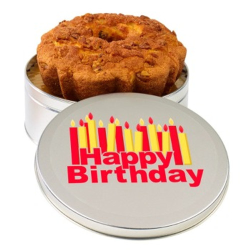 Cinnamon Walnut Coffee Cake  in Happy Birthday Tin