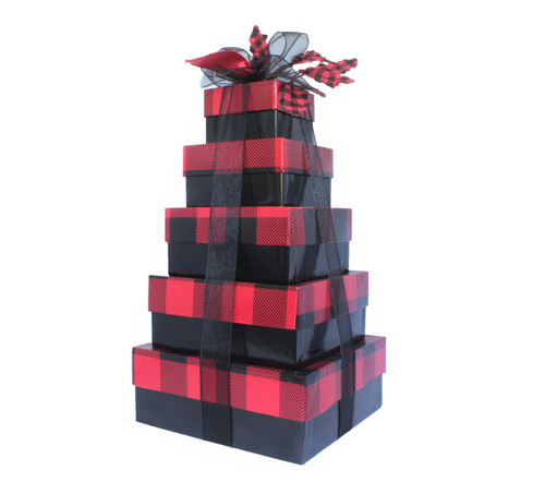 Buffalo Check Holiday Plaid 5 Tier Tower -  Set of 5 boxes - Case Pk. 8