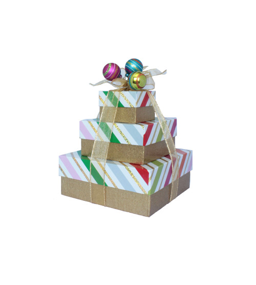 Whimsy Stripes 3 Tier Tower – Set of 3 Boxes - Case Pk. 8