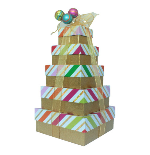 Whimsy Stripes 5 Tier Tower – Set of 5 Boxes - Case Pk. 8