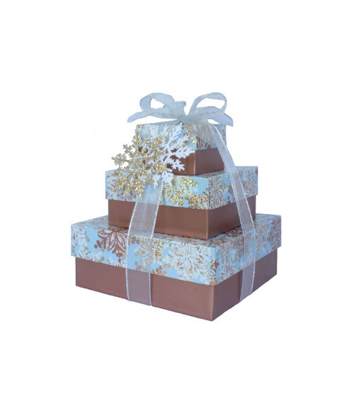 Glistening Snowflakes 3 Tier Tower – Set of 3 Boxes - Case Pk. 8