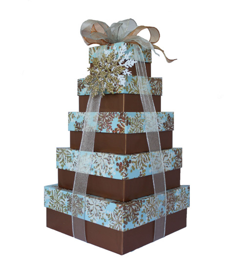 Glistening Snowflakes 5 Tier Tower – Set of 5 Boxes - Case Pk. 8