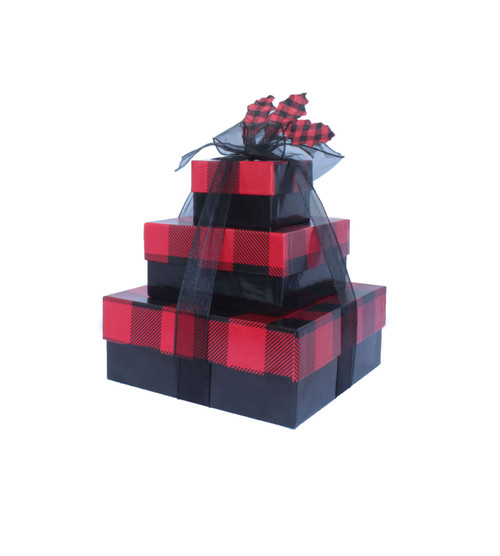Buffalo Check Holiday Plaid 3 Tier Tower – Set of 3 Boxes - Case Pk. 8