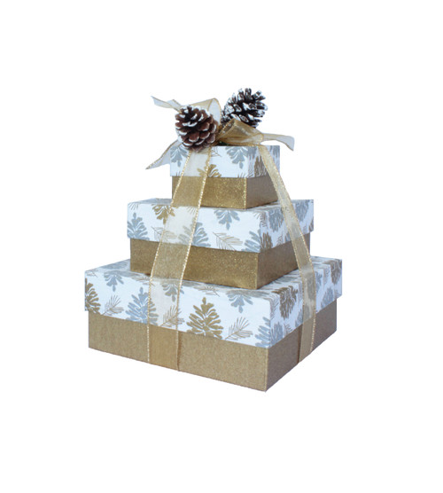 Glittered Pine Cones  3 Tier Tower – Set of 3 Boxes - Case Pk. 8