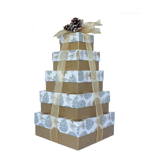 Glittered Pine Cone 5 Tier Tower – Set of 5 Boxes - Case Pk. 8