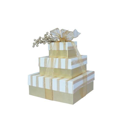 Golden Stripe 3 Tier Tower – Set of 3 Boxes - Case Pk. 8