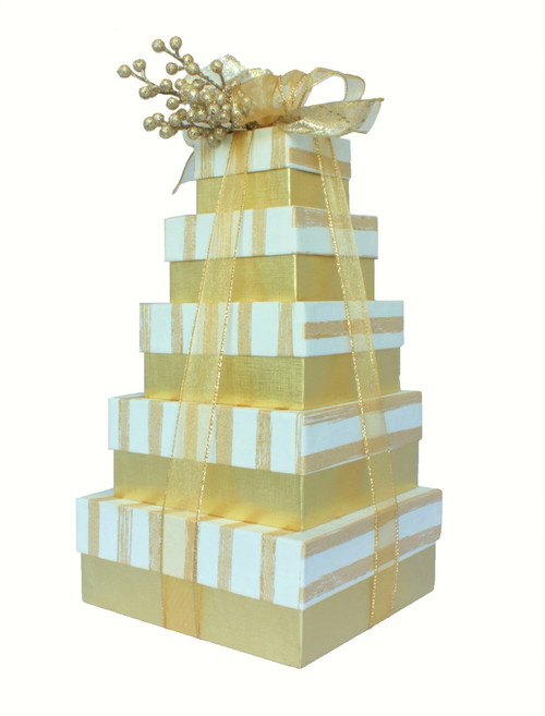 Golden Stripe 5 Tier Tower – Set of 5 Boxes - Case Pk. 8