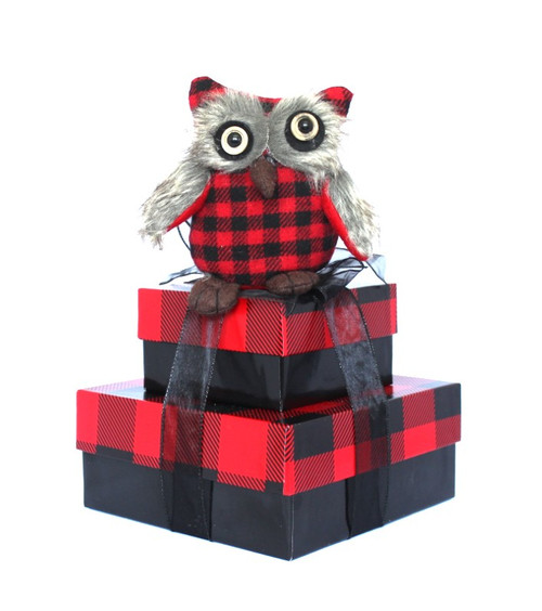 Buffalo Check Owl - Set of 2 Boxes with Owl Case Pack 4
