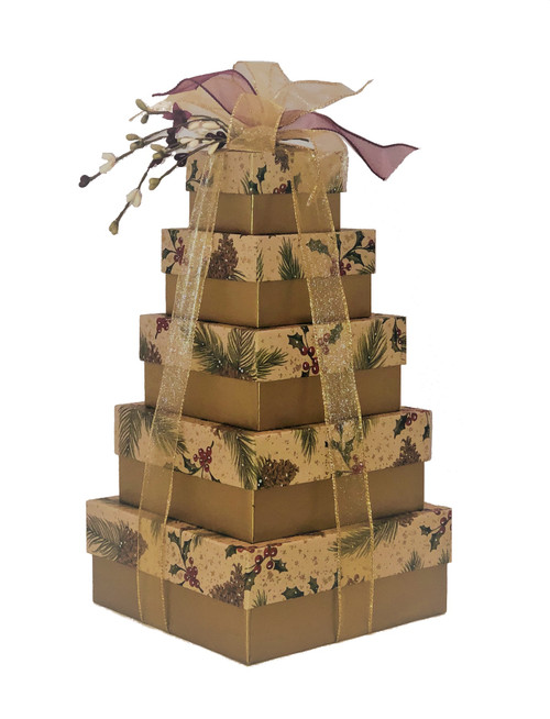 Pine on Kraft 5 Tier Tower - Set of 5 Boxes-Case Pack 8