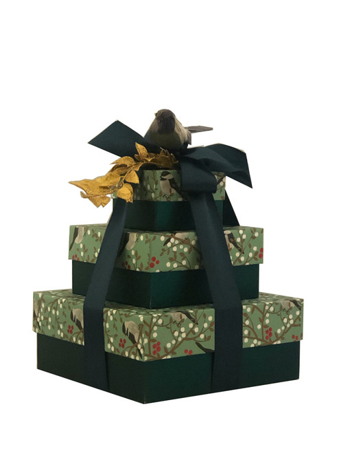 Winter Berries and Fine Feathered Friends 3 Tier Tower -  set of 3 Boxes Case Pk. 8