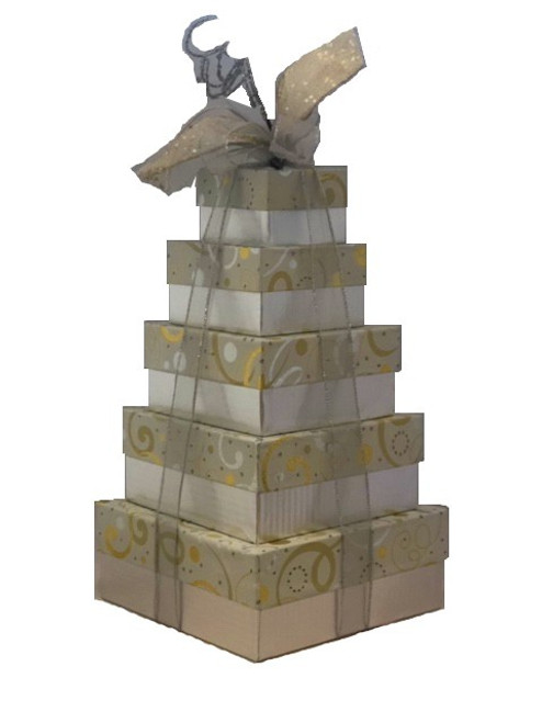 Swirls of Gold & Silver 5 Tier Tower  - Set of 5 Boxes - Case Pk. 8