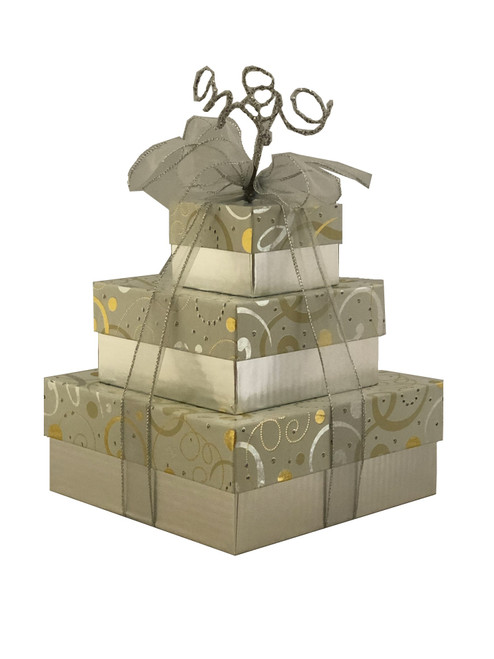 Swirls of Gold & Silver 3 Tier Tower - Set of 3 Boxes - Case Pk. 8