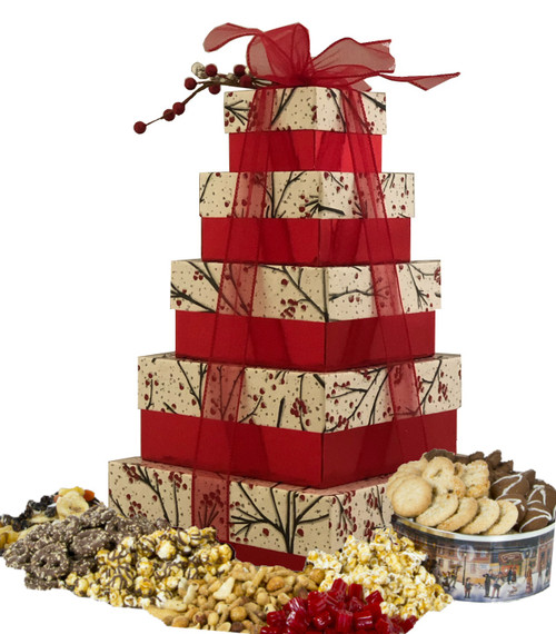Glistening Branches 5 tier Tower with Gourmet Treats