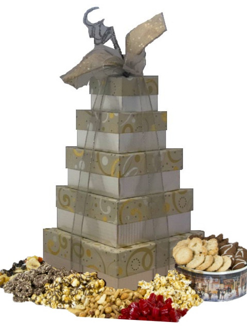 Swirls of Gold and Silver 5 Tier Tower with Gourmet Treats