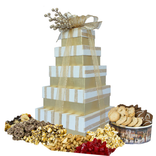 Golden Stripe 5 Tier Tower with Gourmet Treats