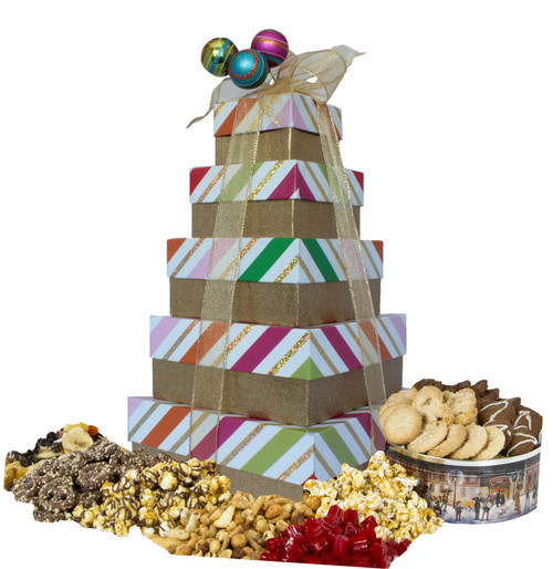 Whimsey Stripes 5 Tier Tower with Gourmet Treats