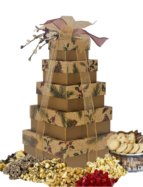Pine on Kraft 5 Tier Tower with Gourmet Treats