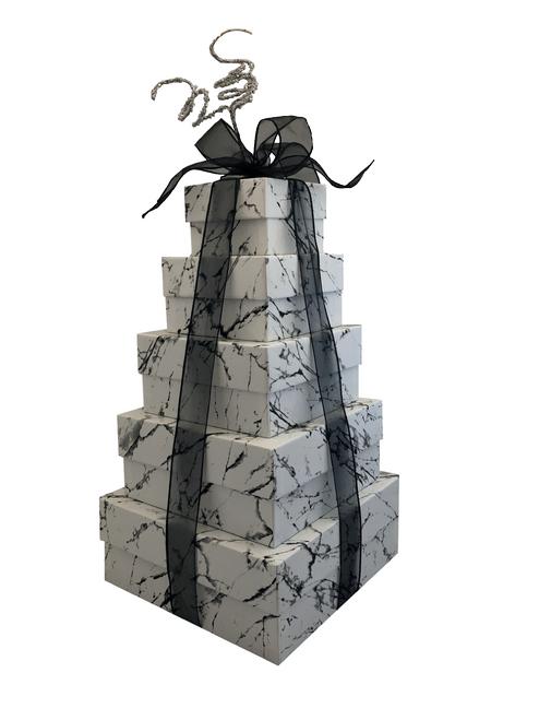 NEW 2021 Design Elegant Marble 5 Tier Tower - Set of 5 Boxes - Case Pk. 8