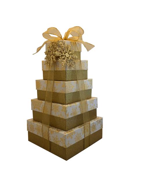 NEW 2021 Design Golden Snowflake - 5 Tier Tower - Set of 5 Boxes - Case Pk. 8