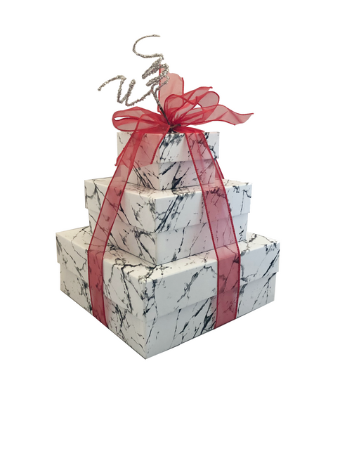 NEW 2021 Design Elegant Marble 3 Tier Tower with Red  Ribbon- Set of 3 Boxes - Case Pk. 8