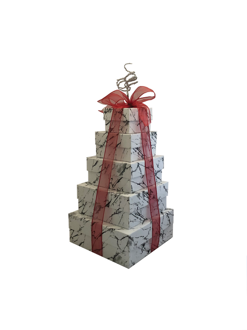 NEW 2021 Design Elegant Marble 5 Tier Tower Tied in Red - Set of 5 Boxes - Case Pk. 8