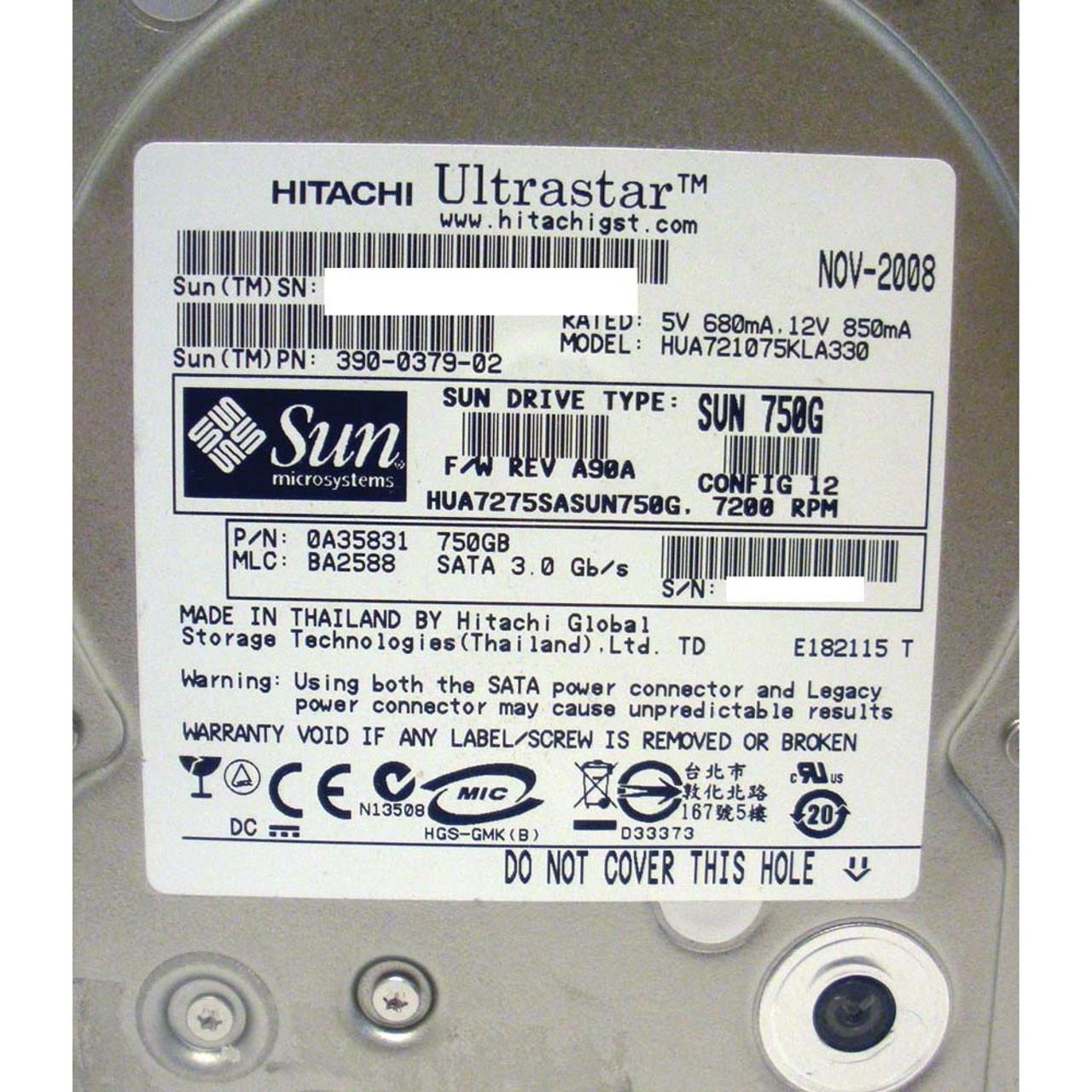 SUN 540-7244 750GB 7200RPM SATA Hard Drive 5407244