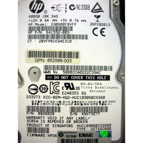 "652583-B21 HPE 600GB 12G SAS SFF 10K 2.5/"" SC Hard Drive 653957-001"
