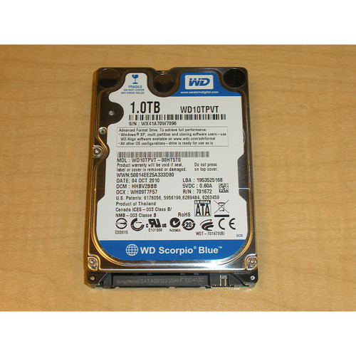 "1TB 5.4K RPM SATA 2.5"" 3Gb/s Laptop Hard Drive Western Digital Scorpio WD10TPVT"