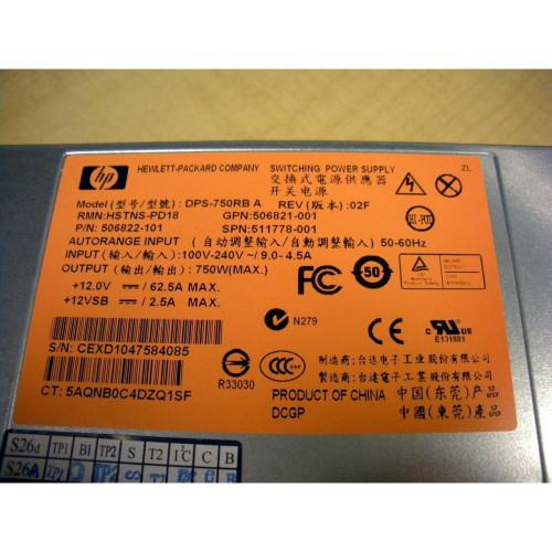 HP 512327-B21 511778-001 506821 506822 750W CS HE Hot-Plug Power Supply G6 G7