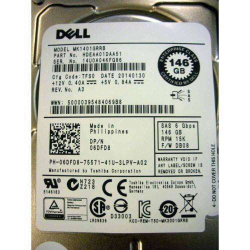 Dell 6DFD8 Hard Drive 146GB 15K SAS 2.5in