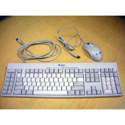 Sun X3731A Type-7 USB PC Keyboard 320-1366 & USB 3-Button Optical Mouse 371-0788