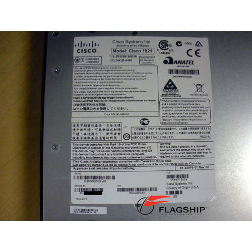 Cisco CISCO1921-SEC/K9 1921 Router w/2 Onboard GE 256MB Flash 512MB DRAM