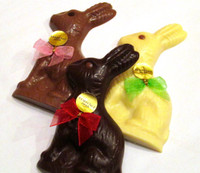Flat Chocolate Bunny with various fillings