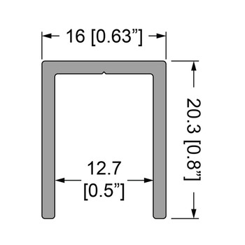 "U Channel 1/2""  Extrusion - 12 ft. Cut in half"