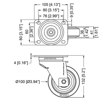 "Automatic rotating castor/ 4"" (100mm) / No Brake"