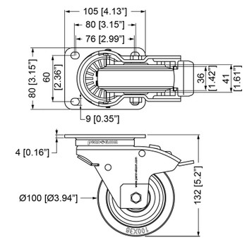 "Automatic rotating castor/ 4"" (100mm) / Brake"
