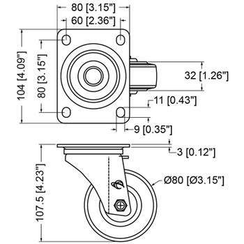 "Caster / 3"" (80mm) / Swivel / No Brake"