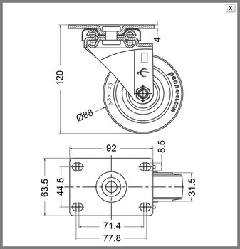 "Caster / 3.50"" (89mm) / Swivel / With Brake"