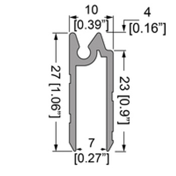 """Hybrid Tongue & Groove Unequal legs Extrusion - 6.5ft.- For 6mm / 1/4"""""""