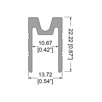 """3105 3/8"""" Groove Extrusion FeMale - 12 ft. Cut in Half"""