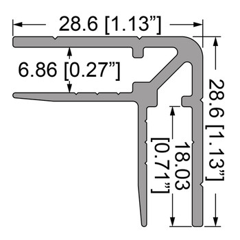 "1/4"" Double Angle Corner Extrusion - 12 ft. Cut in half"