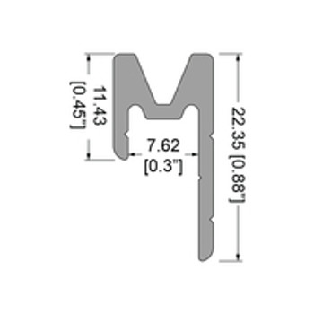 "3022 1/4"" Extrusion Female - 12 ft. Cut in Half"