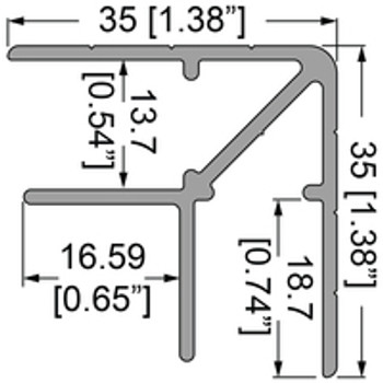"1/2"" 13.7mm Double Angle Corner Extrusion - 12 ft. Must be Cut Please read below"