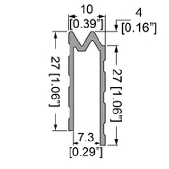 """1/4"""" Hybrid Tongue & Groove Unequal legs Extrusion - 6.5ft."""