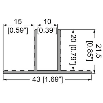 """3/8"""" T-Channel Divider Extrusion - 6 ft."""